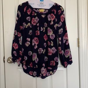 Rebecca Taylor Floral and Navy Top (POCKETS! 😍)